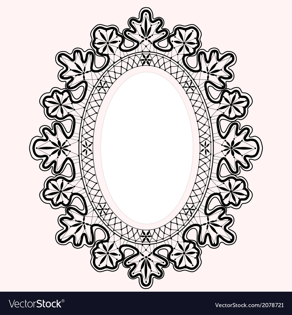 Lace oval frame vector | Price: 1 Credit (USD $1)