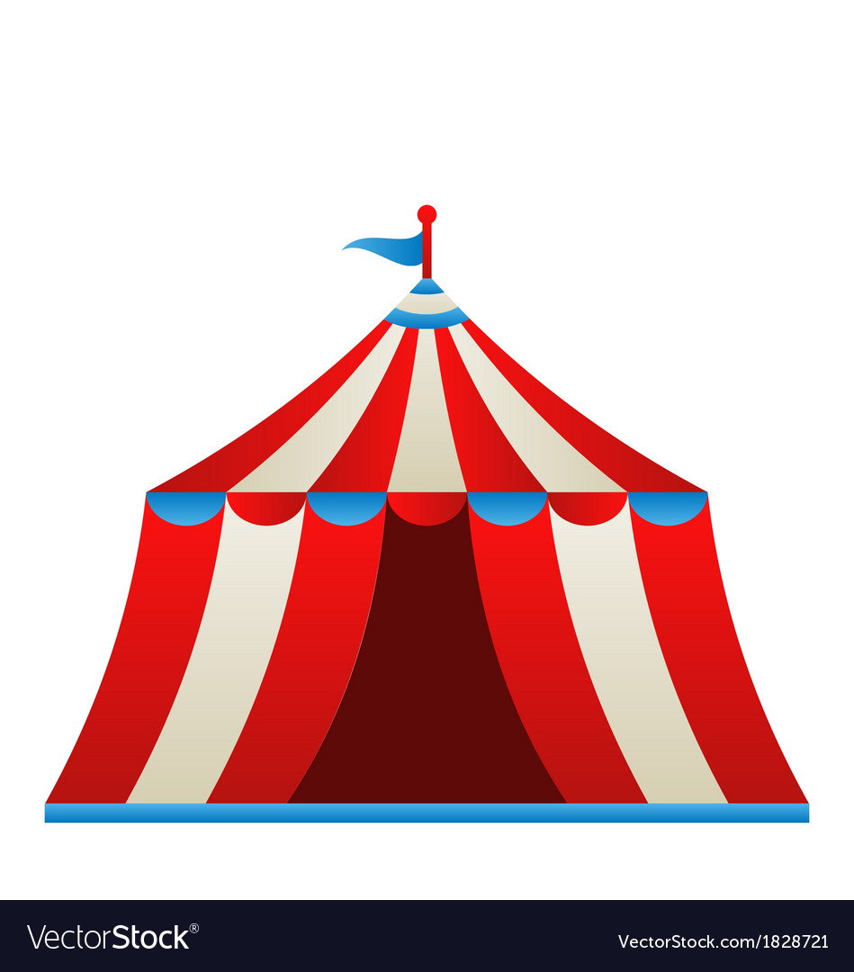Open circus stripe tent isolated on white vector | Price: 1 Credit (USD $1)