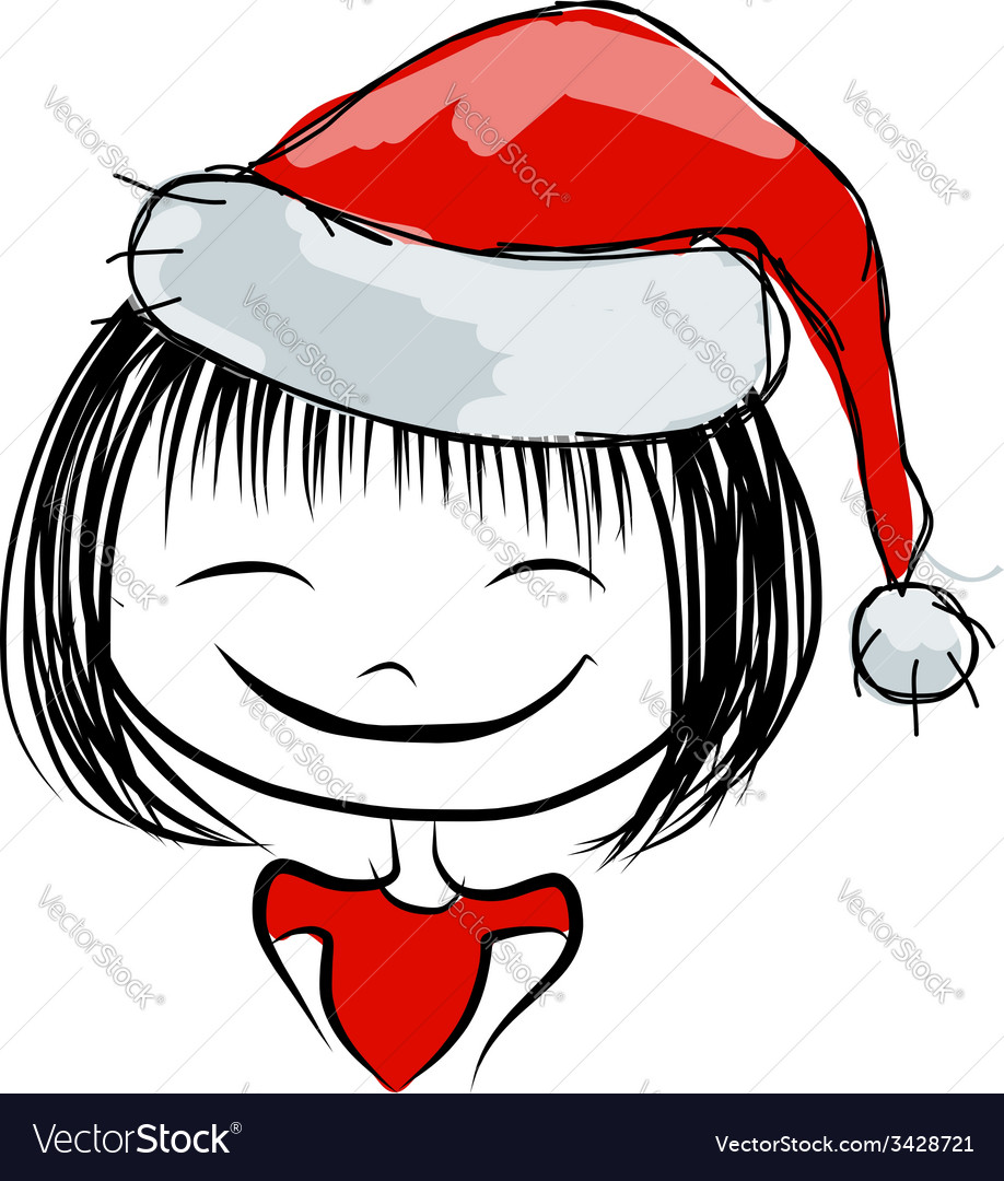 Santa girl portrait sketch for your design vector | Price: 1 Credit (USD $1)