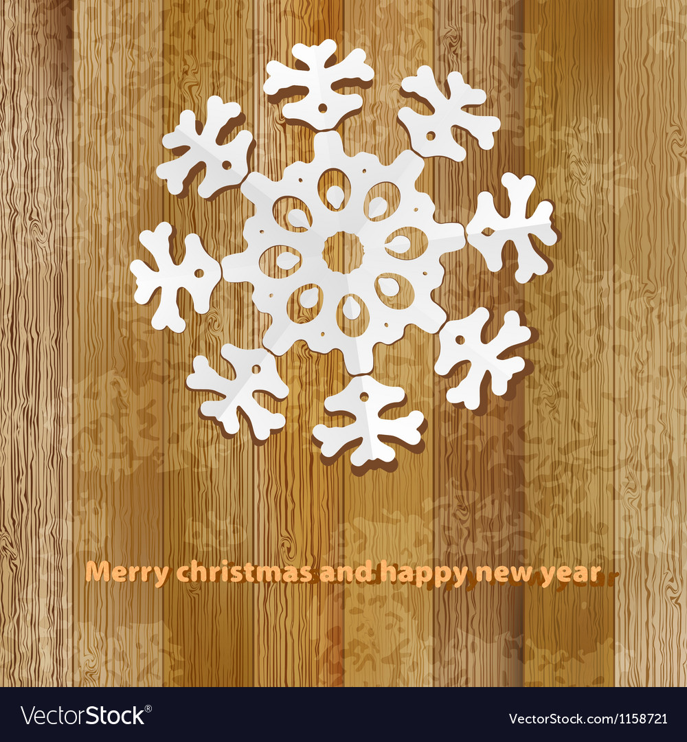 White paper christmas snowflake on a wood  eps8 vector | Price: 1 Credit (USD $1)