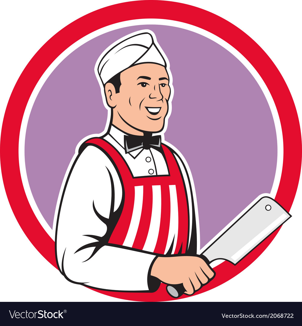 Butcher holding meat cleaver circle cartoon vector | Price: 1 Credit (USD $1)