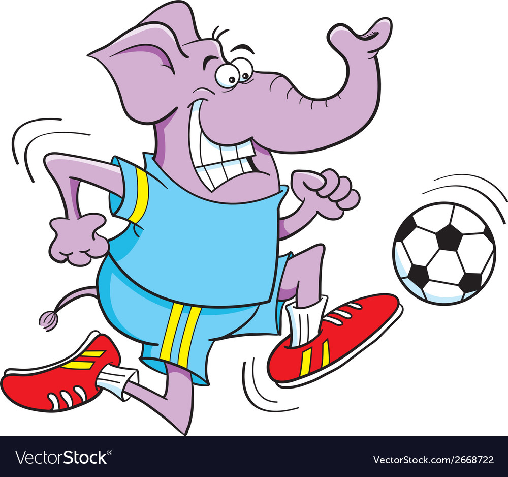 Cartoon soccer elephant vector | Price: 1 Credit (USD $1)