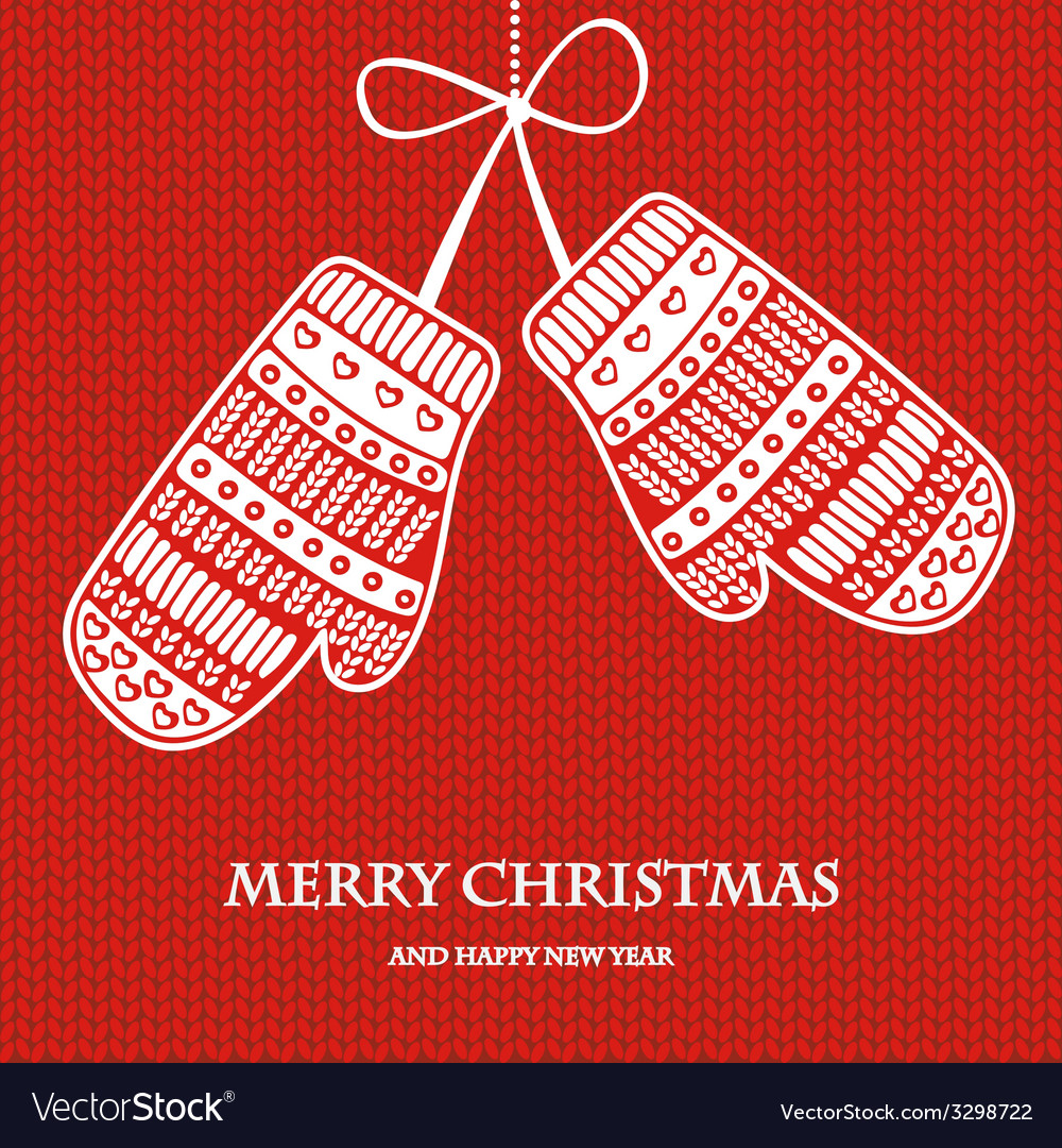 Christmas mittens on red knitted background vector | Price: 1 Credit (USD $1)