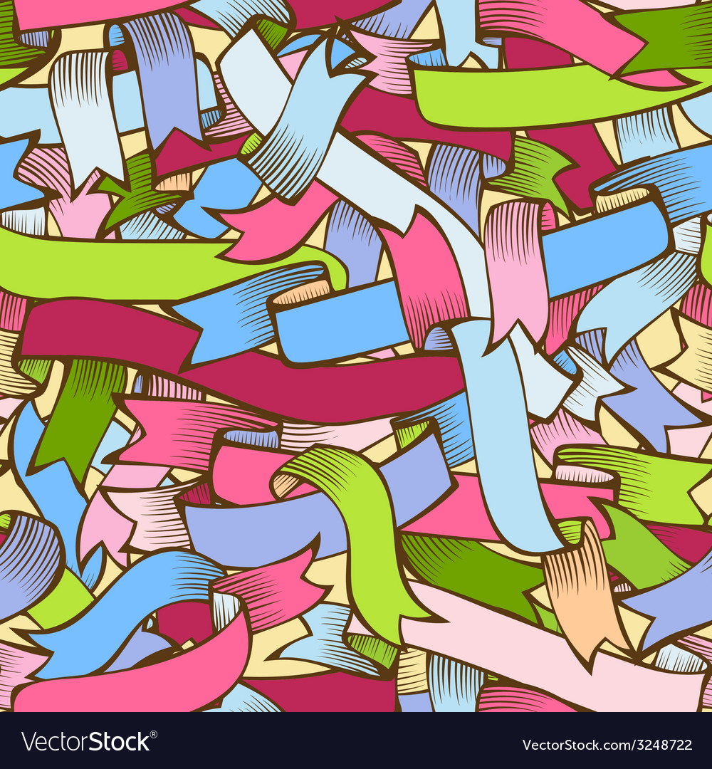 Colorful ribbons seamless pattern vector | Price: 1 Credit (USD $1)