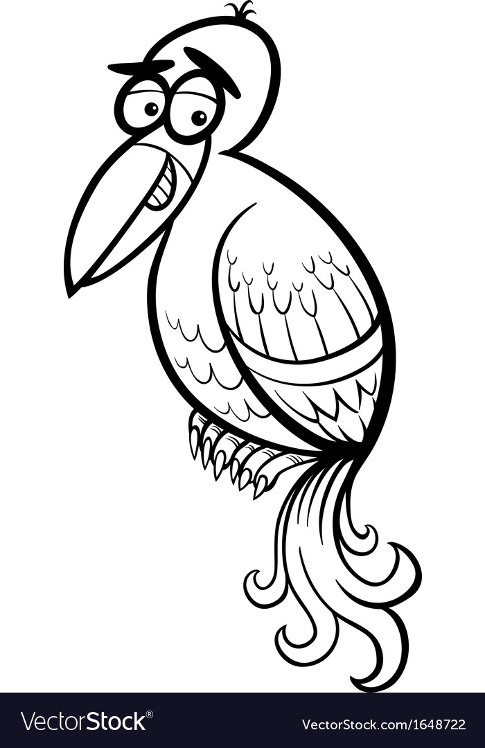 Exotic bird cartoon coloring page vector | Price: 1 Credit (USD $1)
