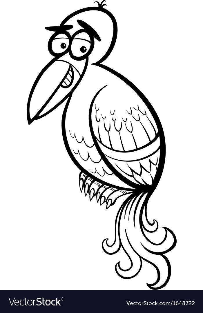 Exotic bird cartoon coloring page vector | Price: 1 Credit (USD $1)