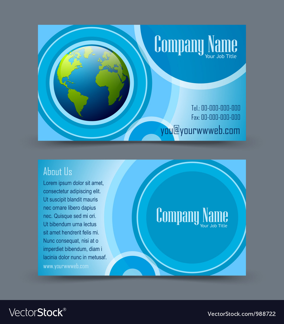 Globe theme business card vector | Price: 1 Credit (USD $1)