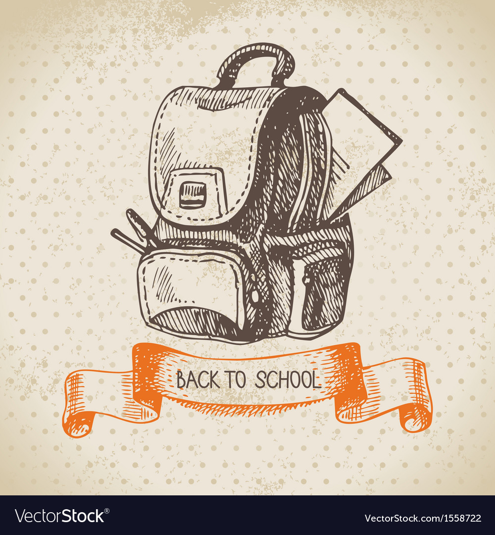 Hand drawn back to school vintage background vector | Price: 1 Credit (USD $1)