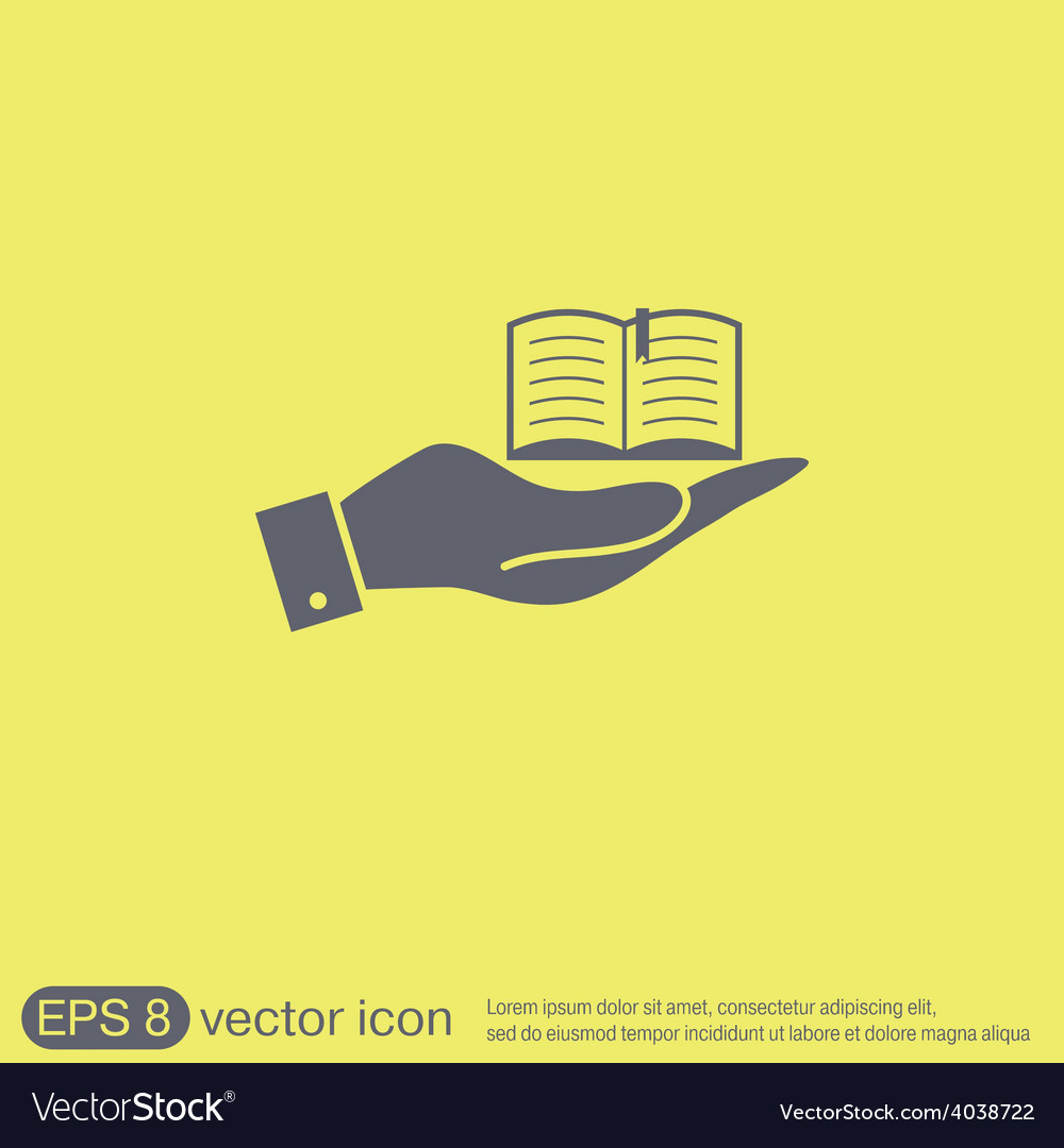 Hand holding a open book sign vector | Price: 1 Credit (USD $1)
