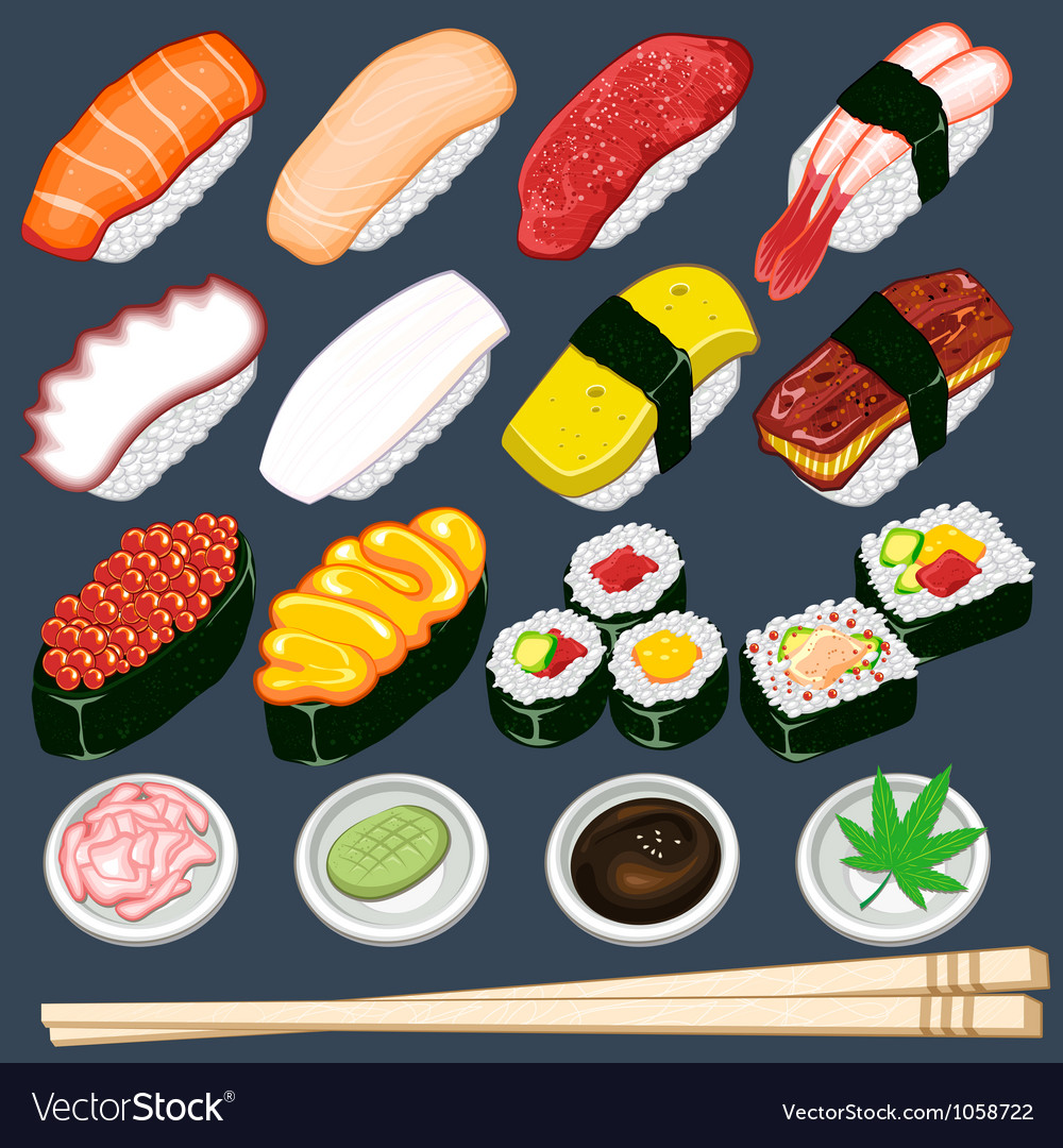 Japanese sushi collection set vector | Price: 3 Credit (USD $3)