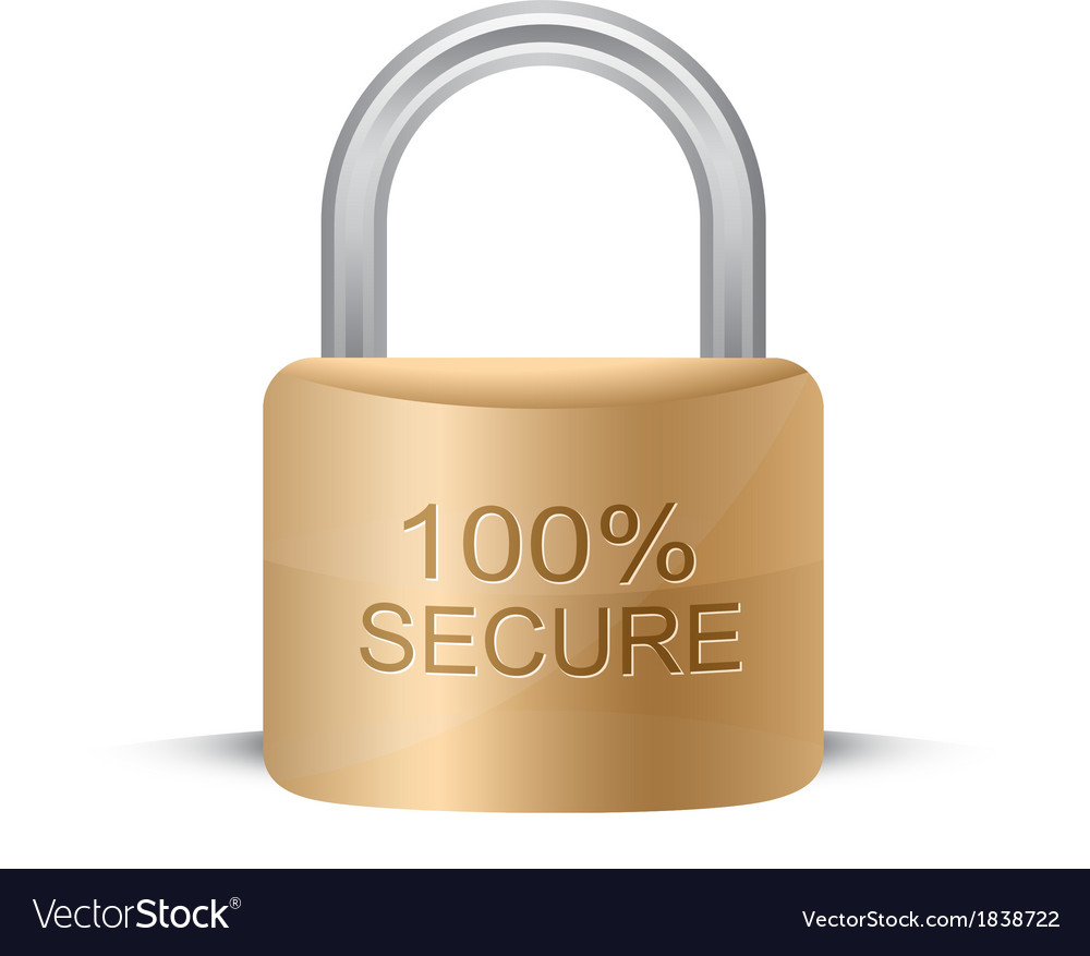 Metallic padlock 100 secure vector | Price: 1 Credit (USD $1)