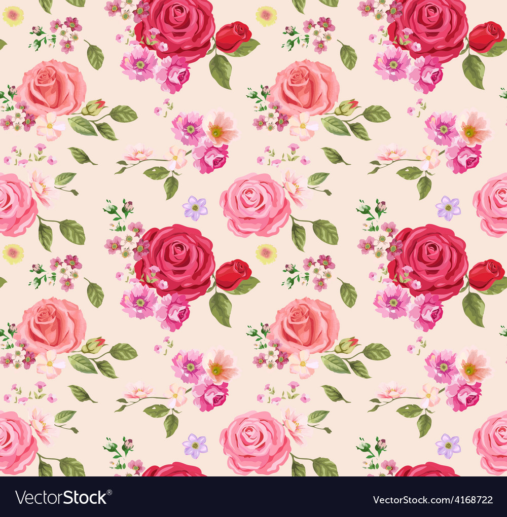 Seamless pattern roses vector | Price: 1 Credit (USD $1)