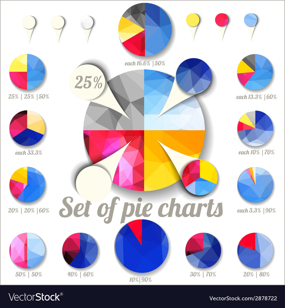 Set of pie charts vector | Price: 1 Credit (USD $1)