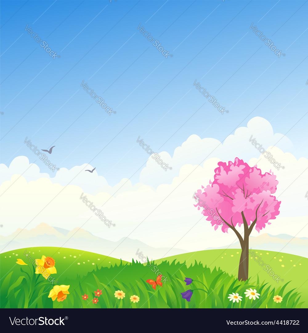 Spring scene vector | Price: 1 Credit (USD $1)