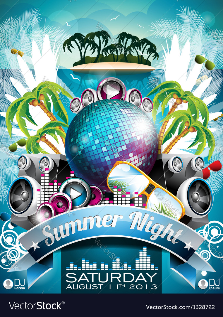 Summer beach party flyer design with disco ball vector | Price: 3 Credit (USD $3)