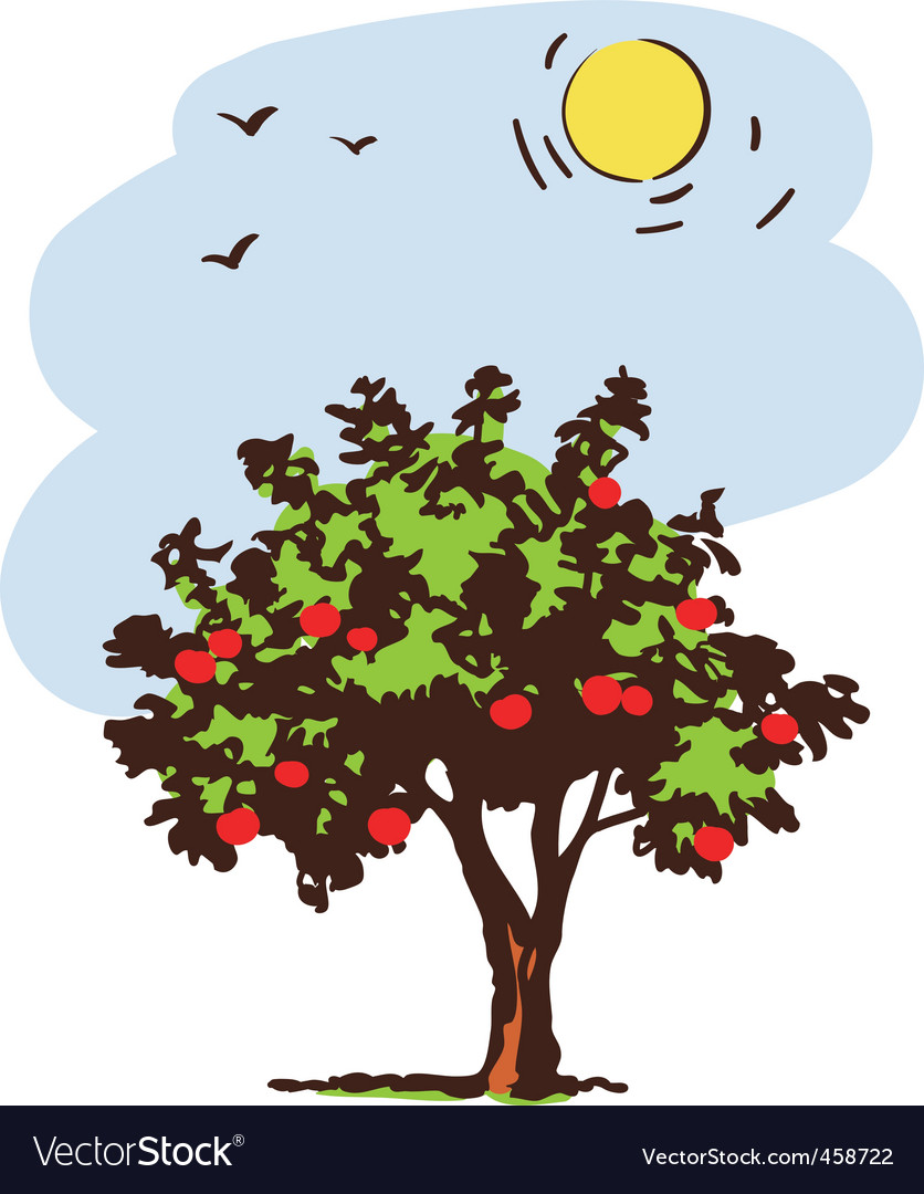 Summer tree with red apple vector | Price: 1 Credit (USD $1)