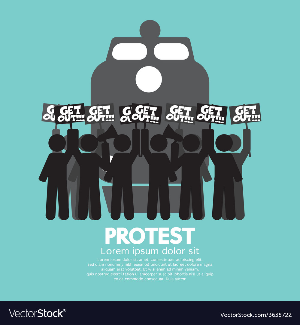 Train workers strike and protest symbol vector | Price: 1 Credit (USD $1)
