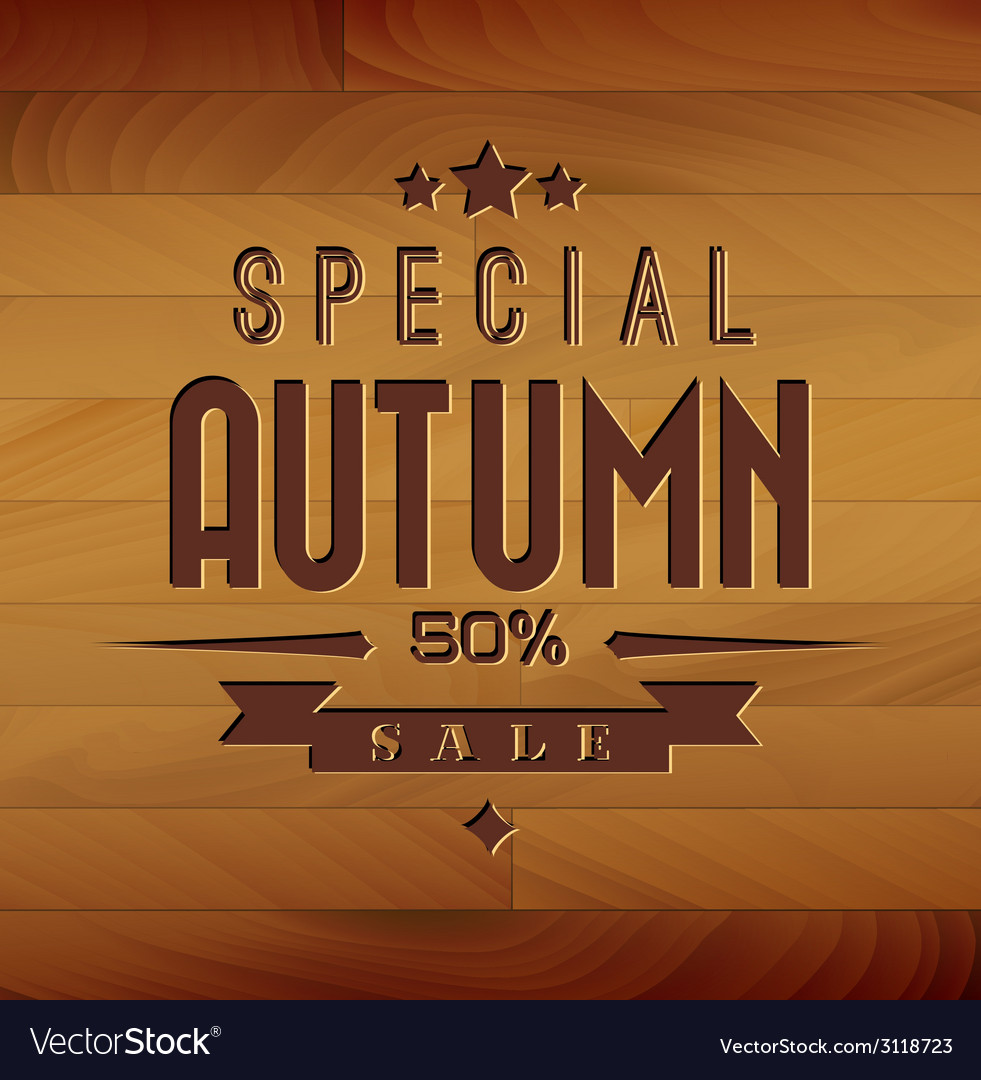 Autumn sale wooden background vector   Price: 1 Credit (USD $1)