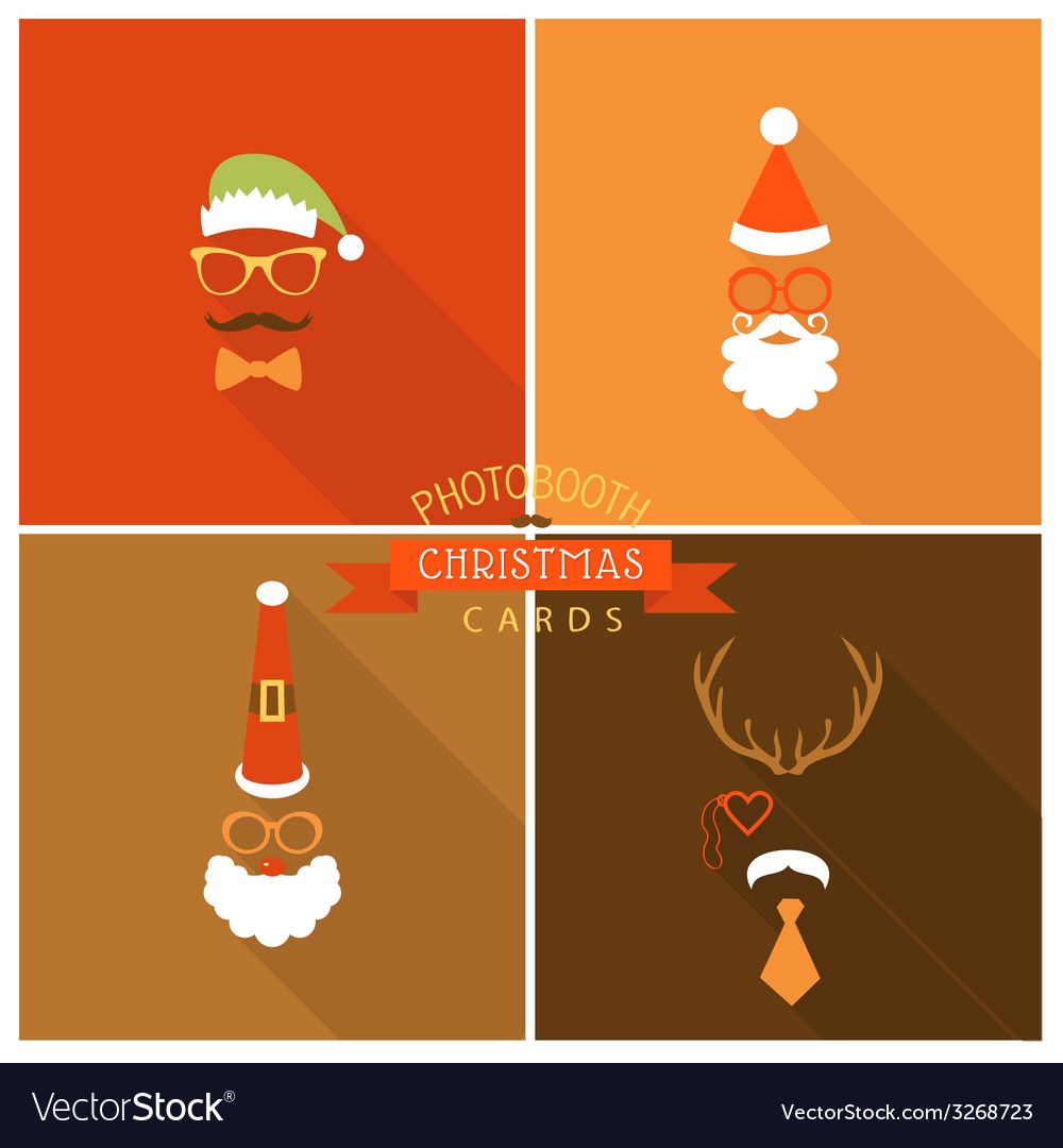 Christmas retro party card - photo booth style vector | Price: 1 Credit (USD $1)