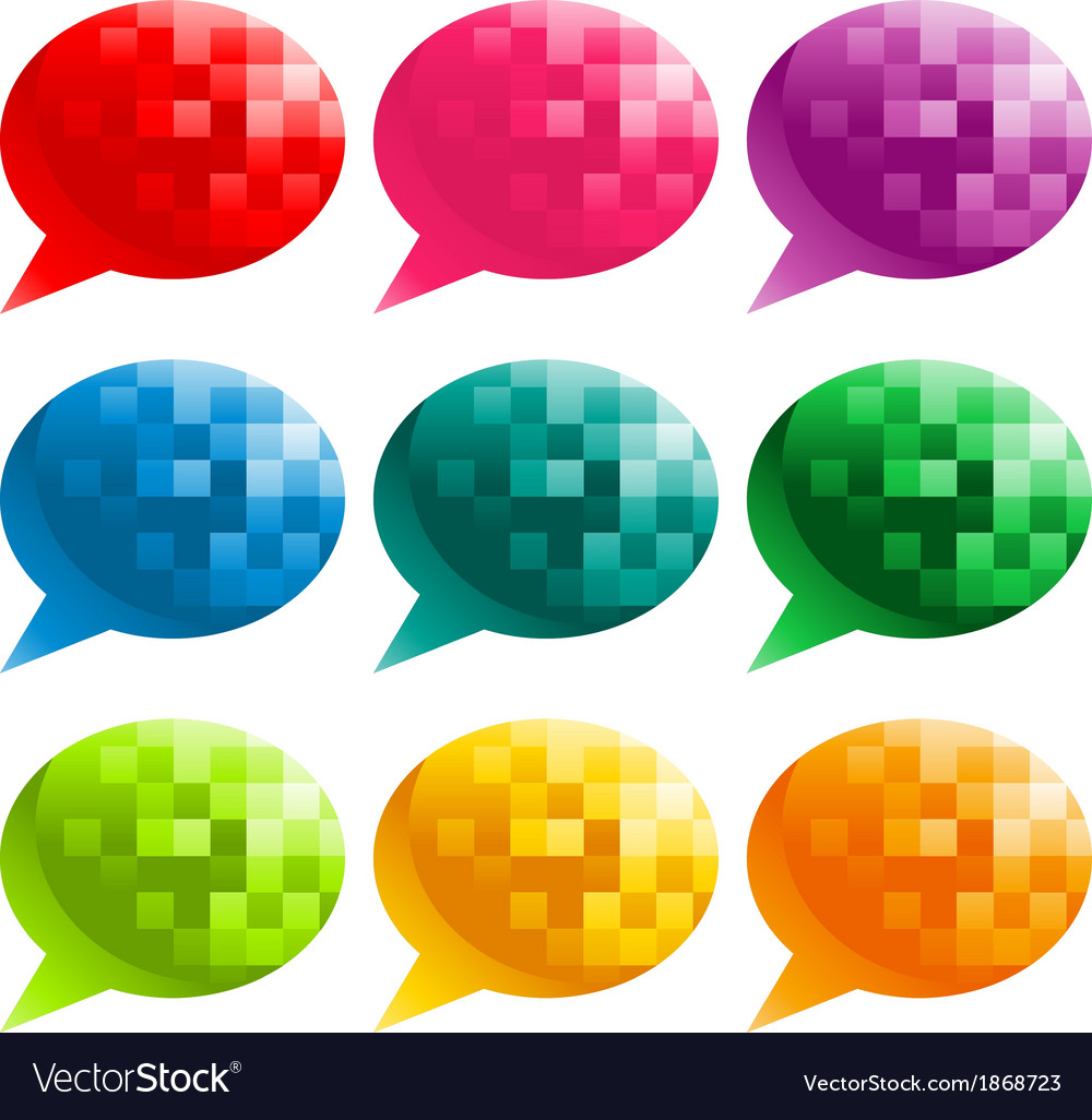 Colorful pixel speech bubbles vector | Price: 1 Credit (USD $1)