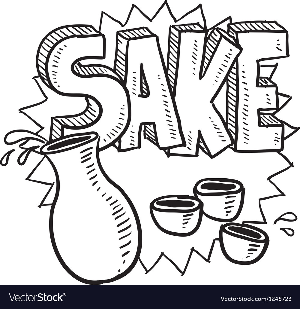 Doodle sake rice flask cup bottle vector | Price: 1 Credit (USD $1)