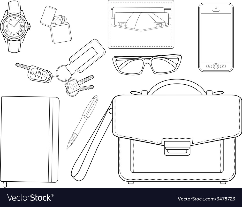 Every day carry man items businessman line-art vector | Price: 1 Credit (USD $1)