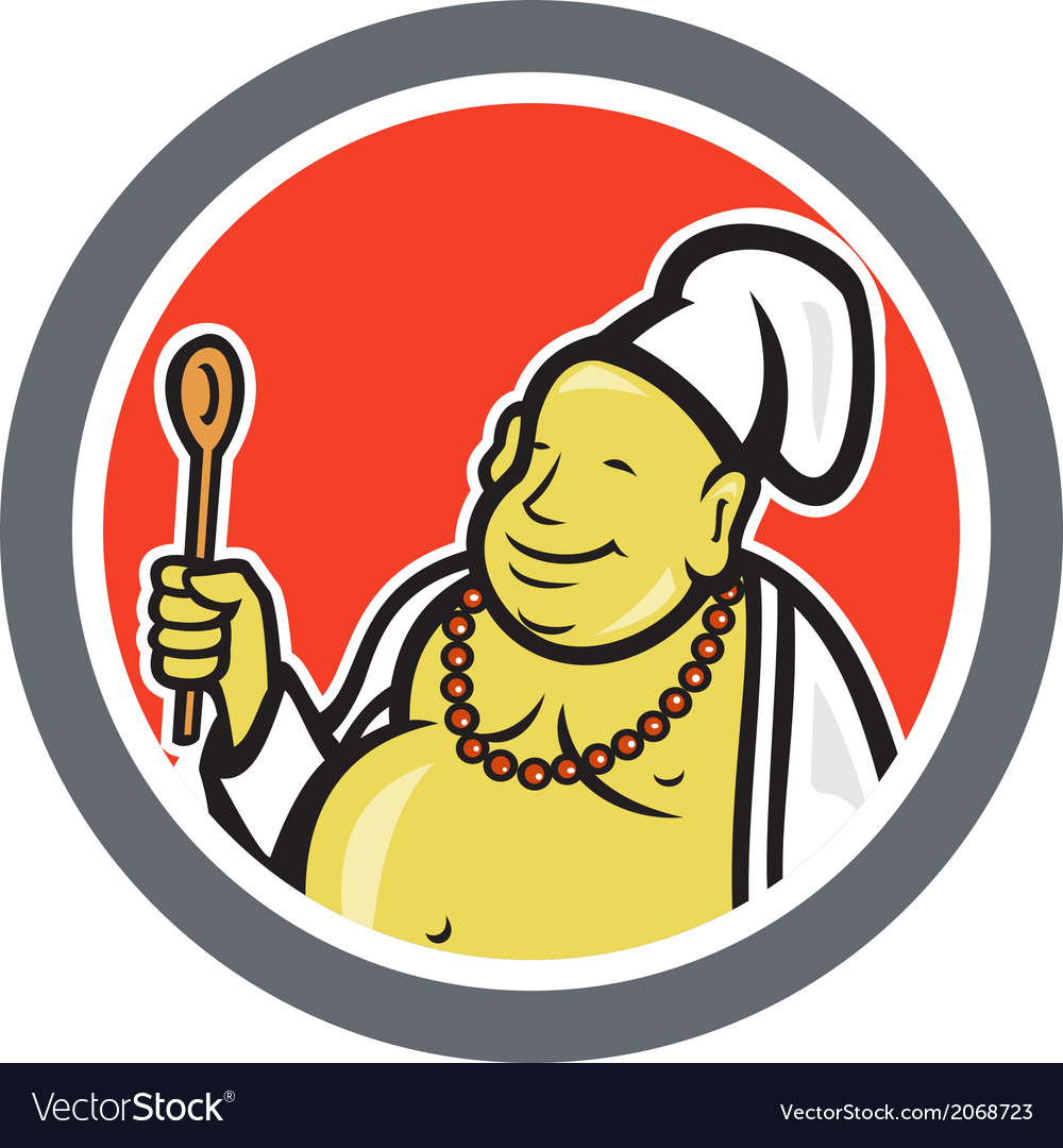 Fat buddha chef cook cartoon vector | Price: 1 Credit (USD $1)