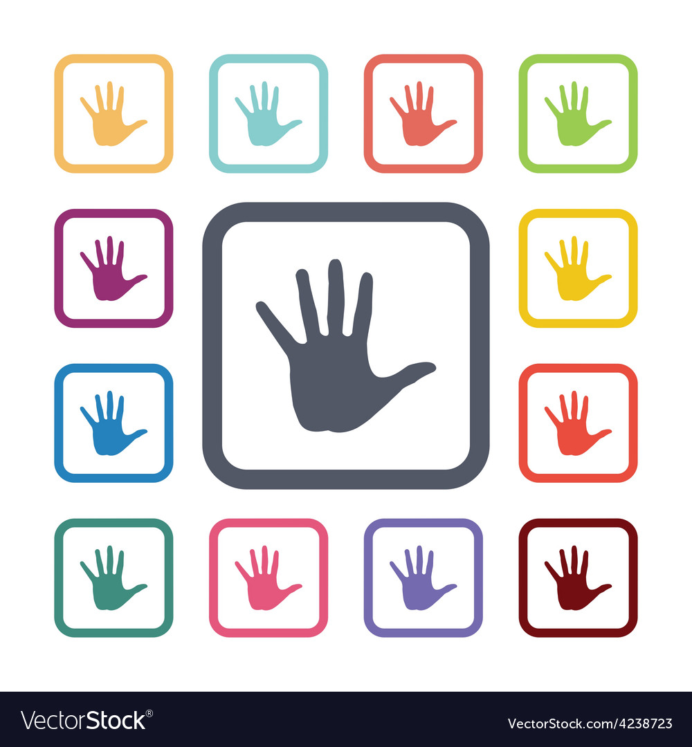 Hand flat icons set vector | Price: 1 Credit (USD $1)
