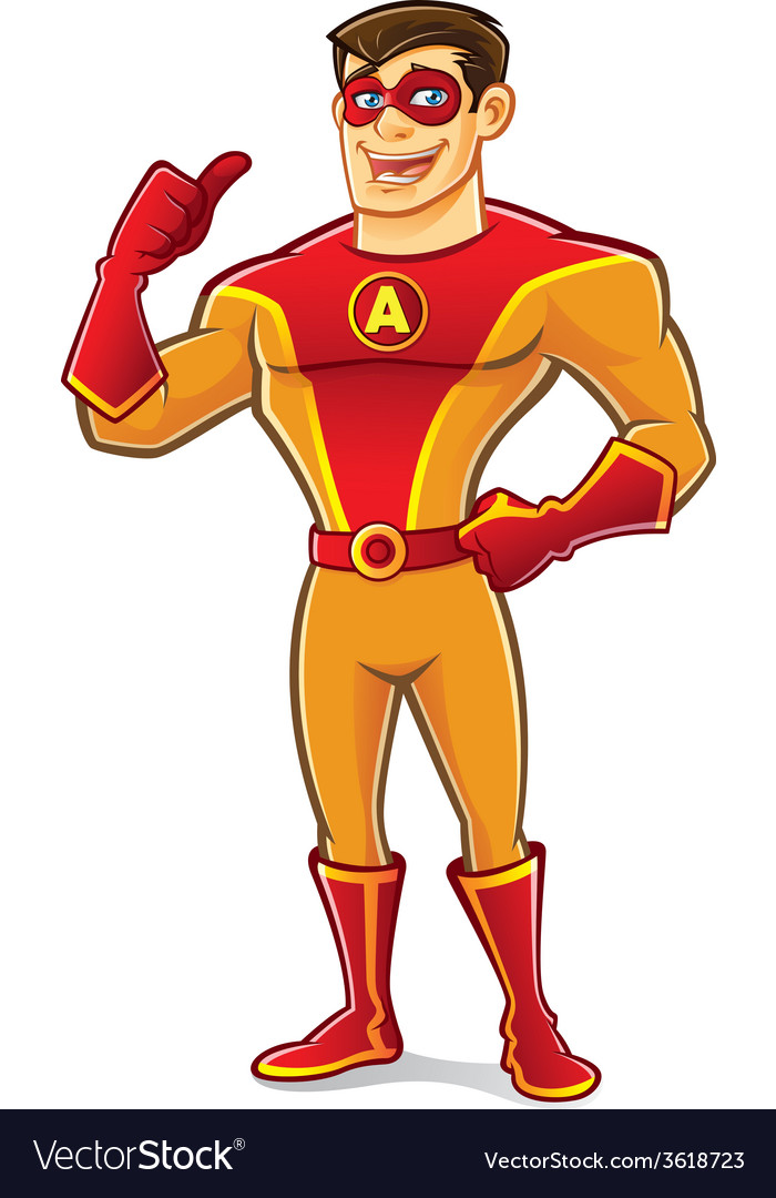 Handsome superhero thumb up vector | Price: 3 Credit (USD $3)