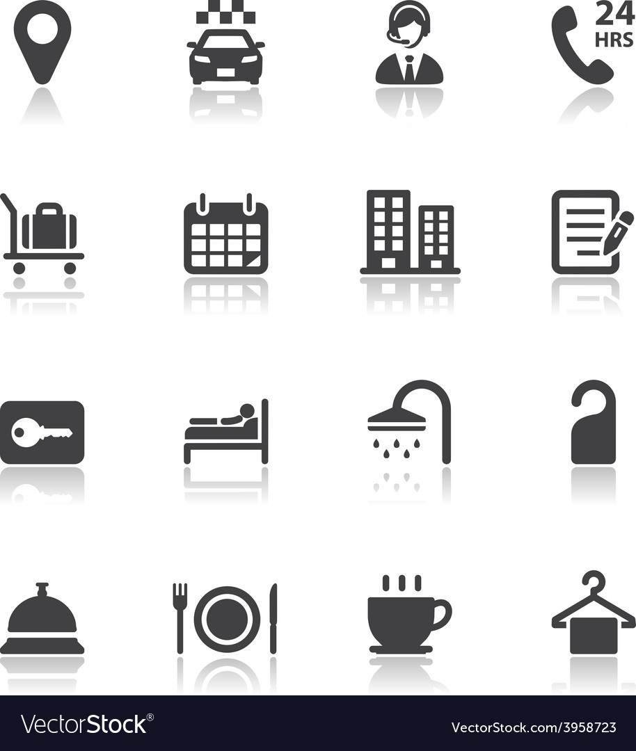 Hotel and hotel amenities services icons vector | Price: 1 Credit (USD $1)