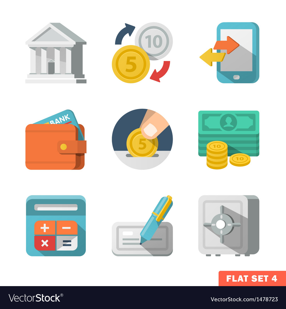Money flat icon set vector | Price: 3 Credit (USD $3)