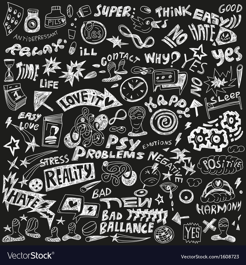 Psychology - doodles set vector | Price: 1 Credit (USD $1)
