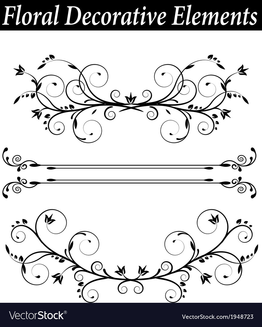 Set floral decorative element with swirls vector | Price: 1 Credit (USD $1)