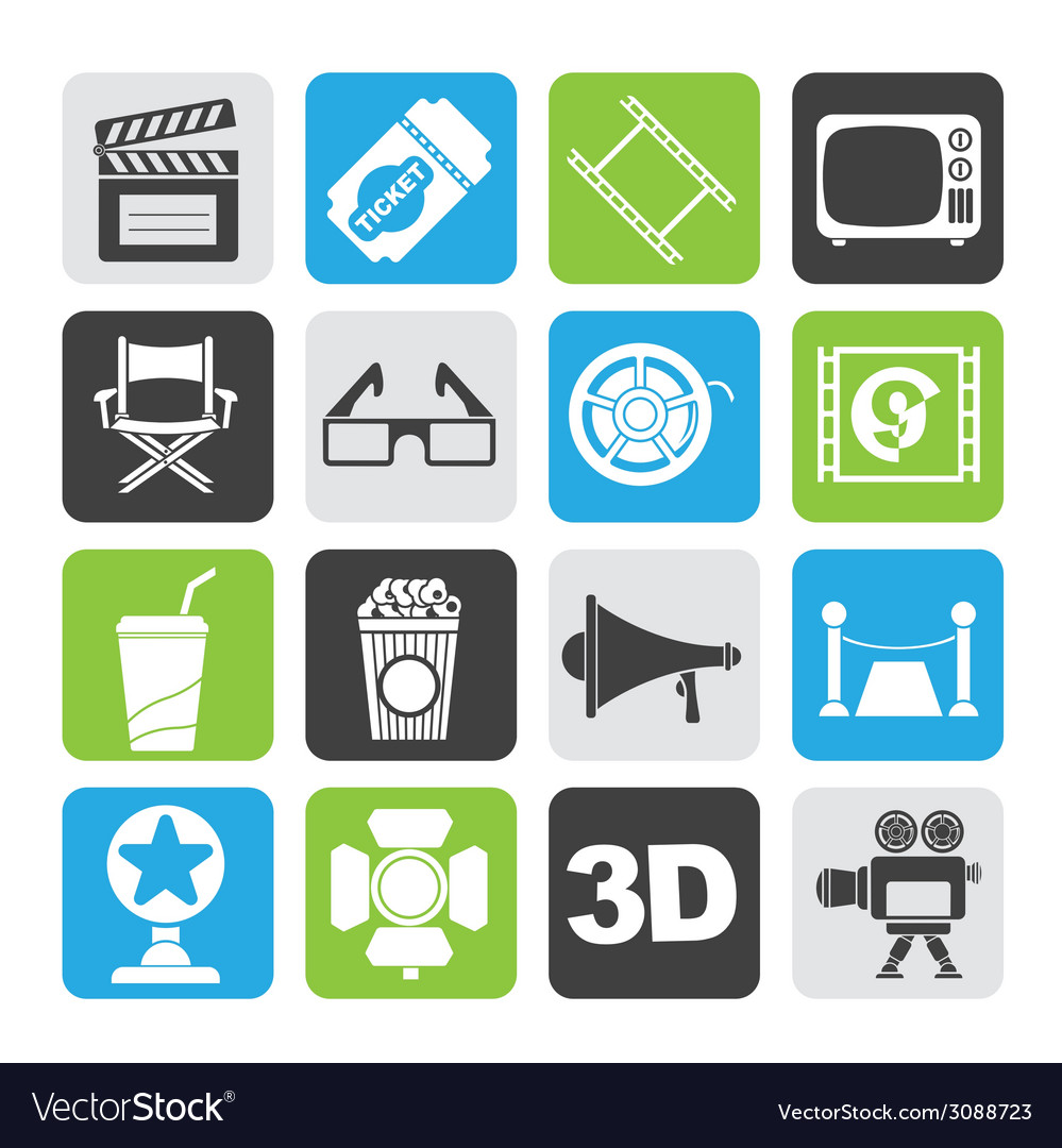 Silhouette cinema and movie icons vector | Price: 1 Credit (USD $1)