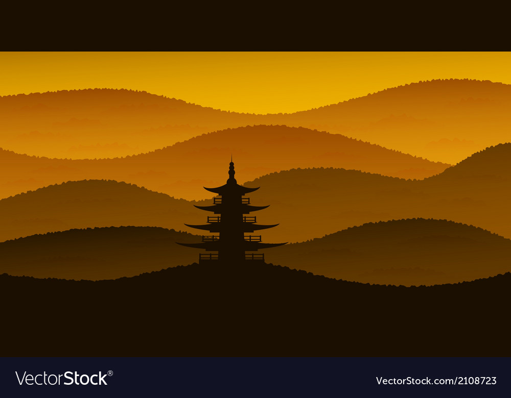 Sunset pagoda vector | Price: 1 Credit (USD $1)