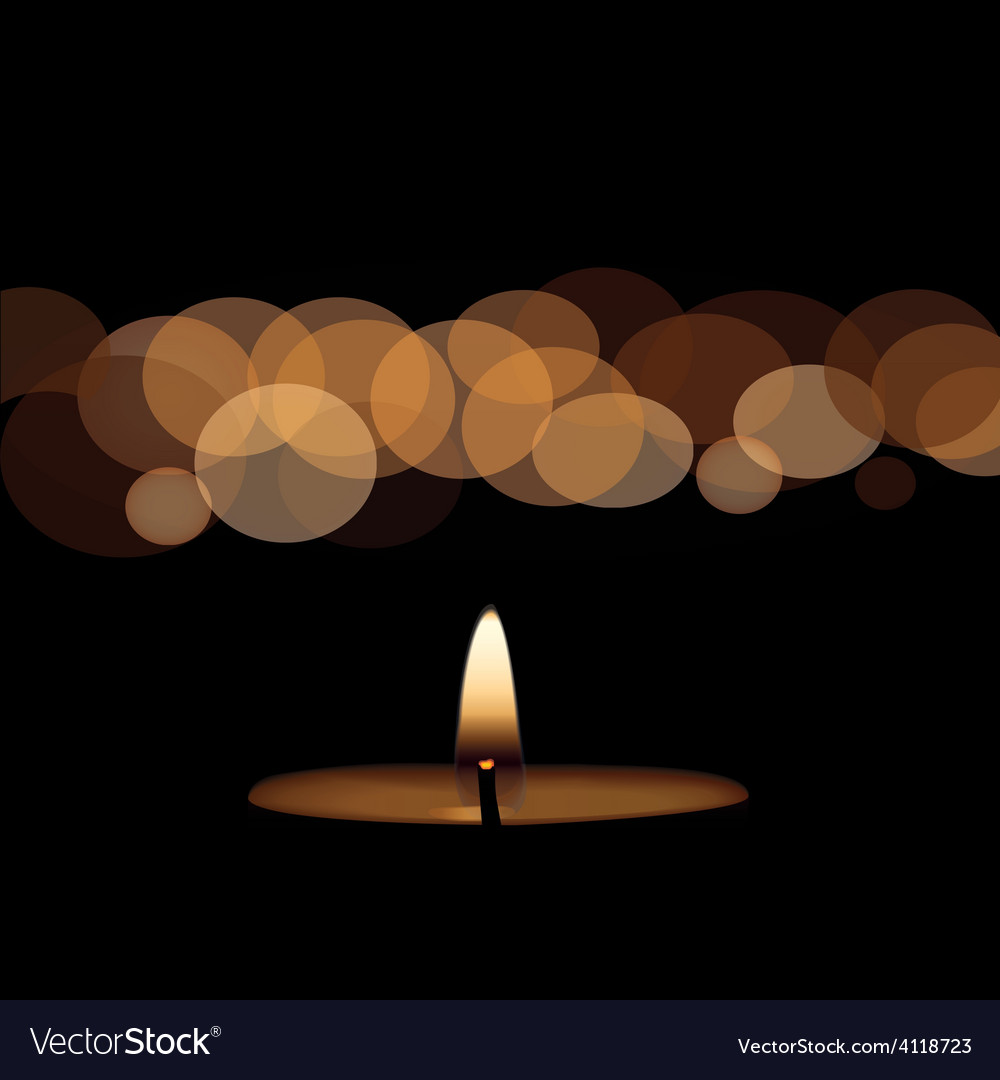 Yellow candle on black background vector | Price: 1 Credit (USD $1)