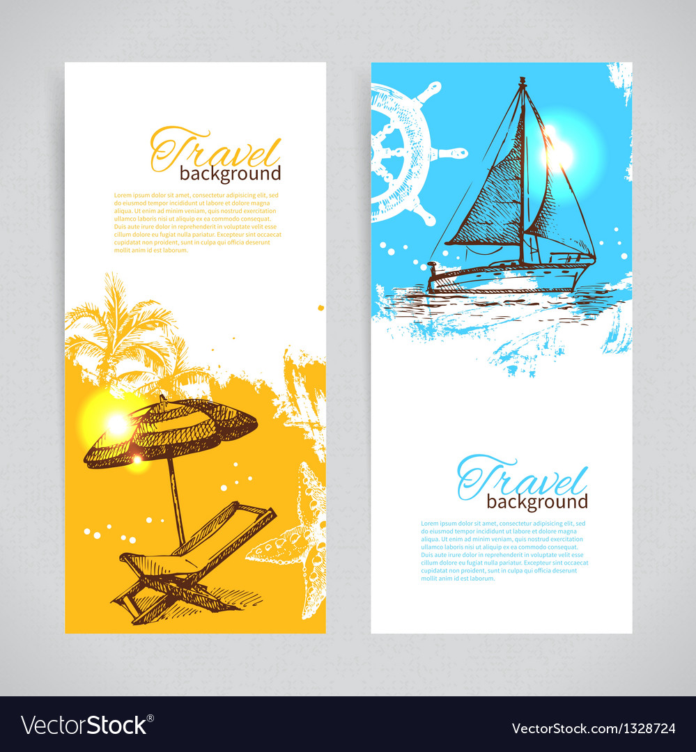 Banners of travel colorful tropical design vector | Price: 1 Credit (USD $1)