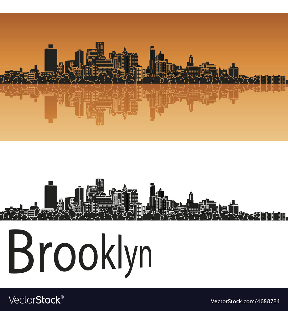 Brooklyn skyline in orange vector | Price: 1 Credit (USD $1)