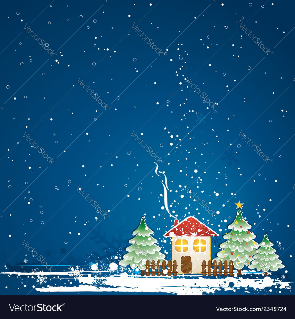 Christmas card with house pine and snowflakes vector | Price: 1 Credit (USD $1)