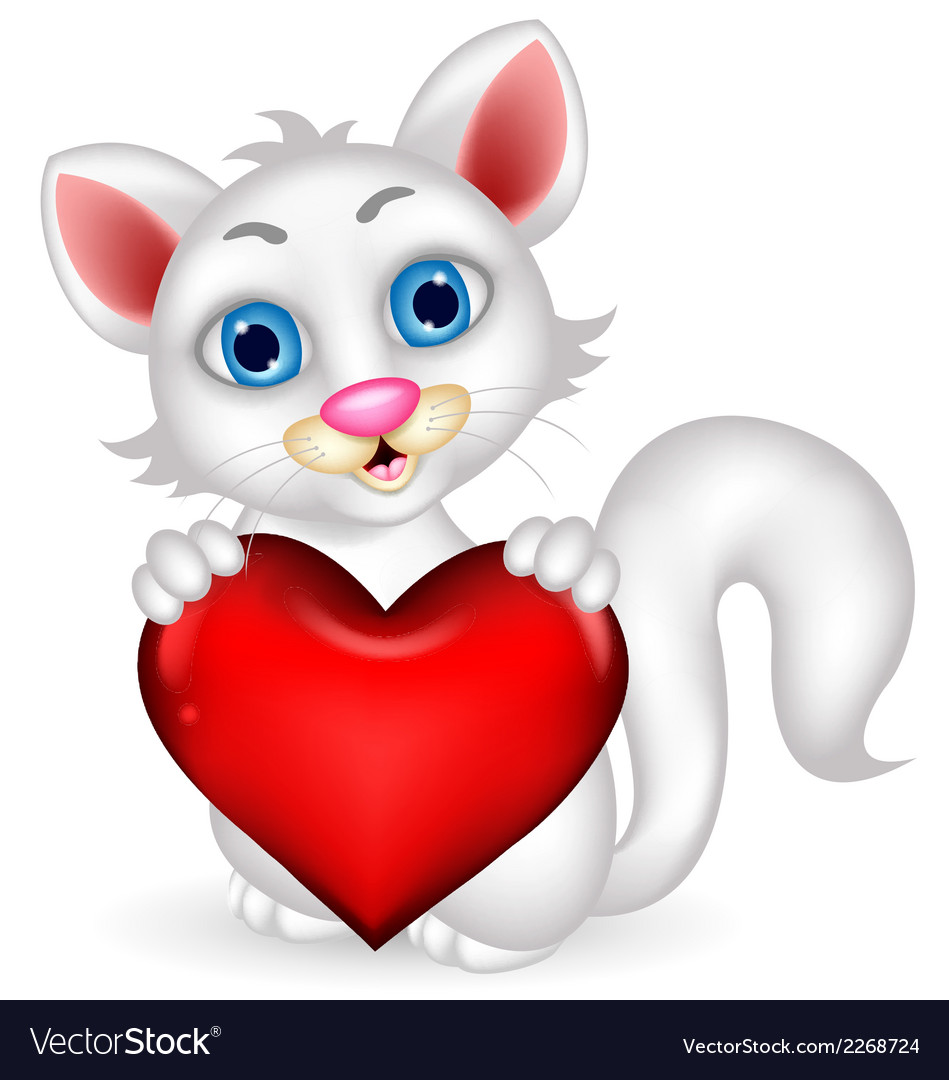 Cute fluffy white cat holding heart love vector | Price: 1 Credit (USD $1)