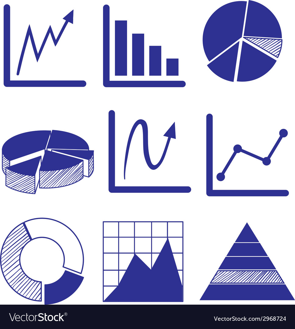 Different graphs in blue color vector | Price: 1 Credit (USD $1)
