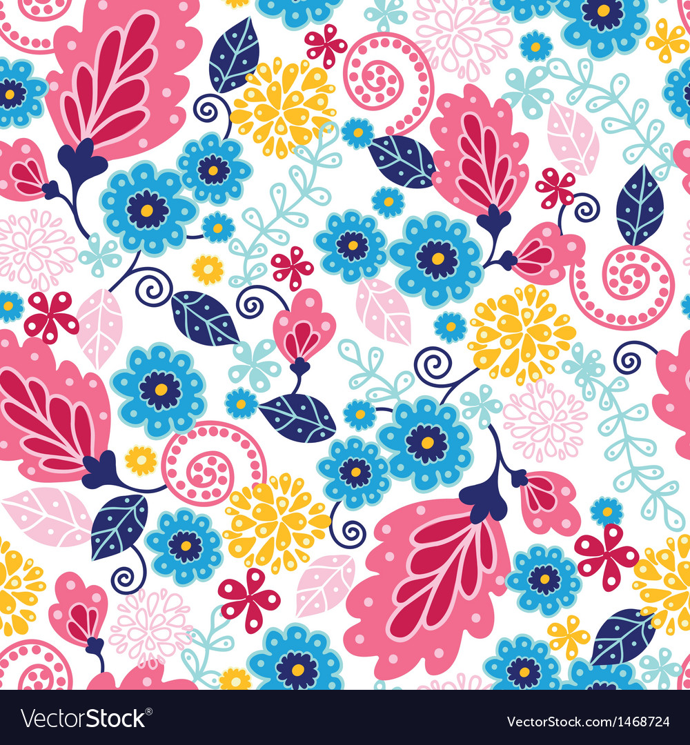 Fairytale flowers seamless pattern background vector | Price: 1 Credit (USD $1)
