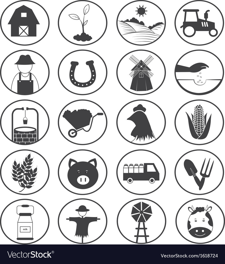 Farming icons collection vector | Price: 1 Credit (USD $1)