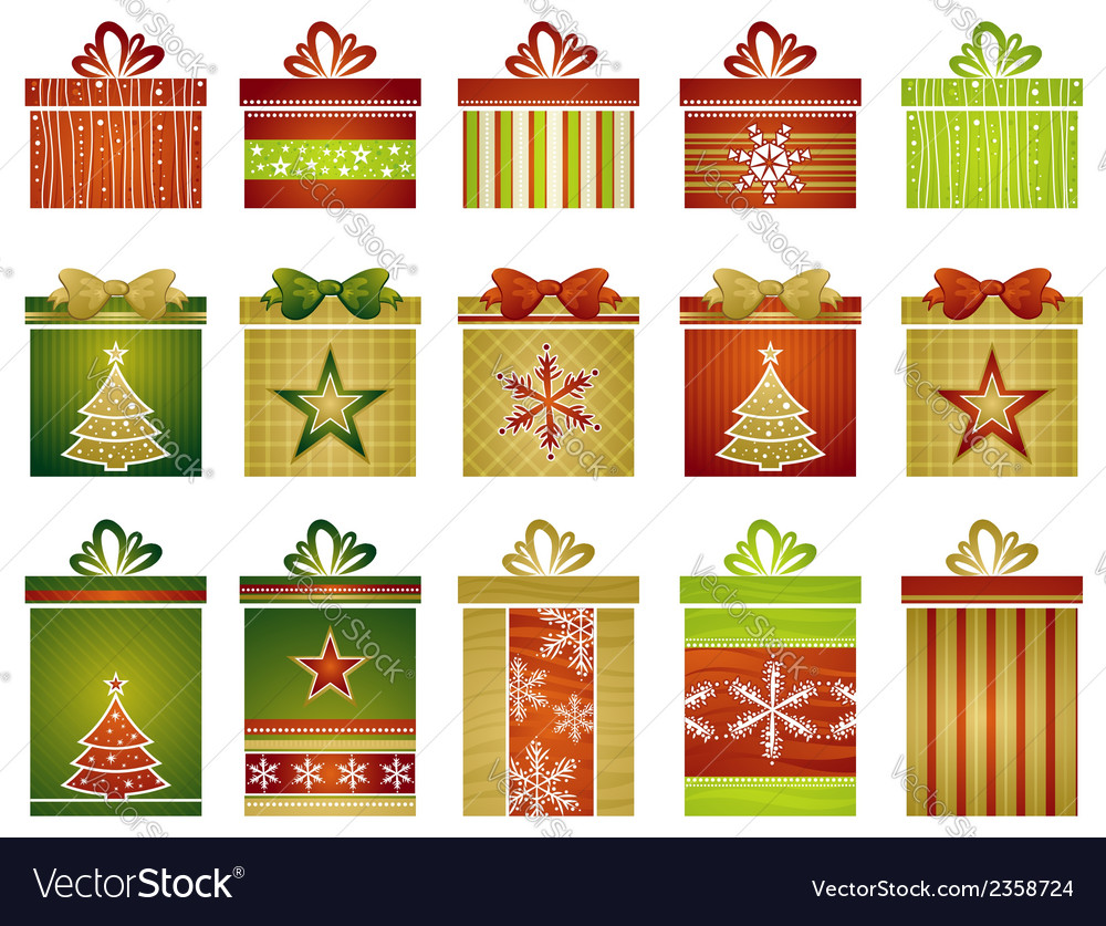 Fifteen color christmas gifts vector | Price: 1 Credit (USD $1)