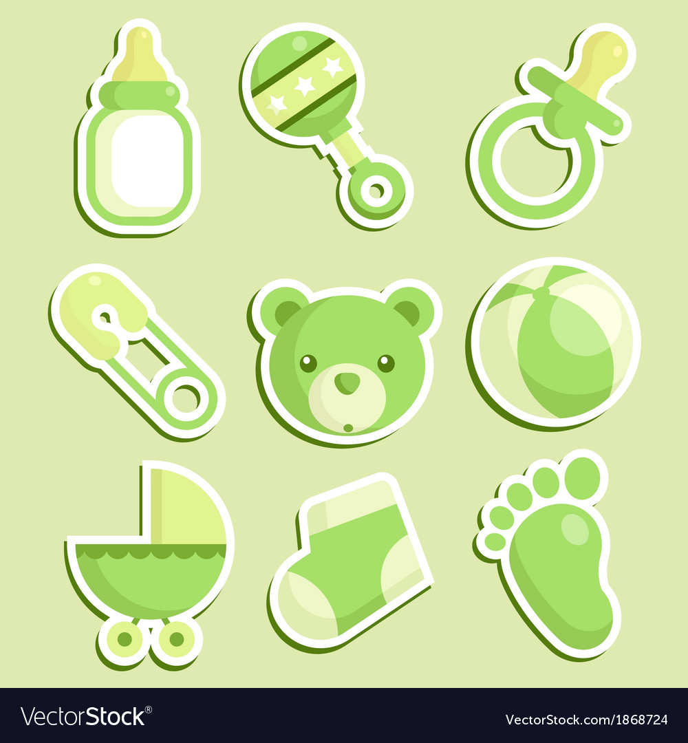 Green baby shower icons vector | Price: 1 Credit (USD $1)