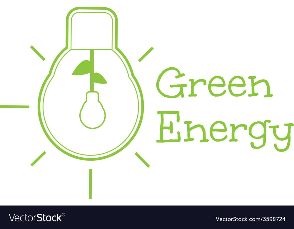 Green energy word combined with light bulb vector | Price: 1 Credit (USD $1)