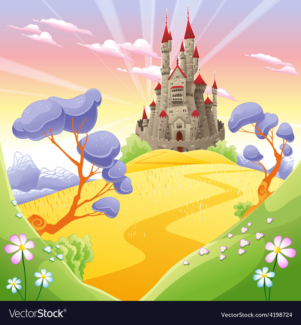Mythological landscape with medieval castle vector   Price: 3 Credit (USD $3)