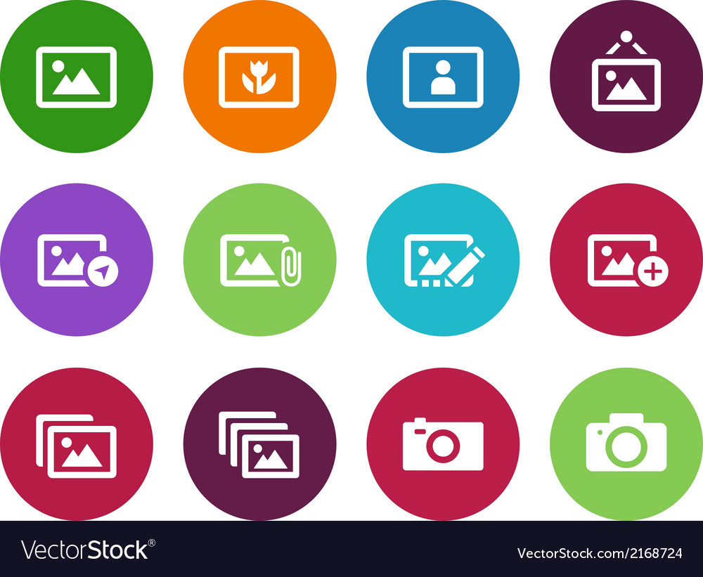 Photographs and camera circle icons vector | Price: 1 Credit (USD $1)