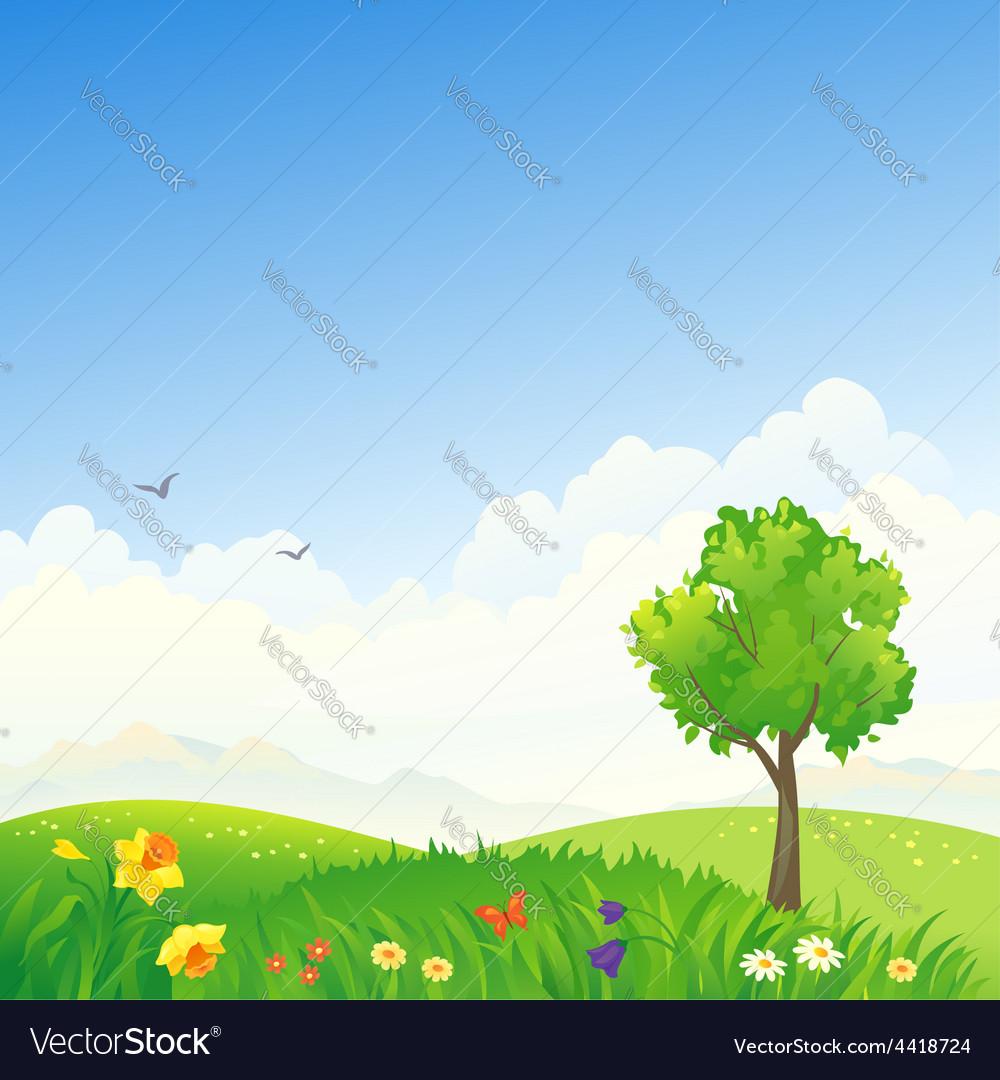 Spring scenery vector | Price: 1 Credit (USD $1)