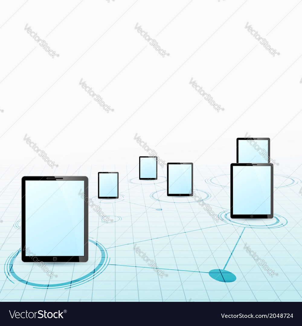 Tablet device network background vector | Price: 1 Credit (USD $1)